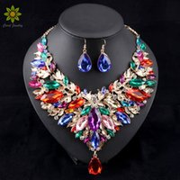 Wholesale Jewellery Sale China - 2017 Hot Sale African Jewelry Sets Wedding Necklace Womens Jewellery Set Gold Plated Necklace And Earrings 6Colors