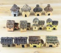 casas de resina de hadas al por mayor-3 cm linda resina artesanías casa hadas jardín miniaturas gnome Micro paisaje decoración bonsai para la decoración del hogar