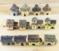 Wholesale garden fairy house - 3cm cute resin crafts house fairy garden miniatures gnome Micro landscape decor bonsai for home decor