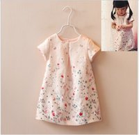 Wholesale Lining Tshirts - 2016 Summer Baby Girl Dress Shirt Cute Girls Butterfly Flower Printed Pink Skirt Kids Clothing Fashion Girl Princess T-shirt Dresses Tshirts