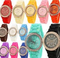 diamantes de quartzo genebra venda por atacado-100 pçs / lote Relógio de Moda de Luxo Lady GENEVA rose ouro Diamante Wathes relógio de pulso de quartzo Jelly Silicone relógios para as mulheres presente de casamento