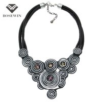 Wholesale Metal Handmade Jewelry - BoseWin Unique Design Choker fashion Handmade Jewelry Fashion Leather Chain Spiral Metal Wire Crystal Statement Necklace CE4146