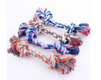 Wholesale Dog Cotton Rope Pet Toys - 22 CM 100 pcs DHL free shipping dog toy Dog Toys Puppy Cotton Chews Knot Braided Bone Rope Dog Supplies Pet Supplies
