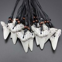 Бесплатная доставка Collares Limited Simulated-Bone Real Chrysocolla Kolye Shark Tooth Pendants Ожерелья Bionic Bone Length Adjustable Jewelry