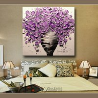 Wholesale Framed ready to hang wall modern home decor wall art picture for living room purple flower thick painting knife oil painting on canvas