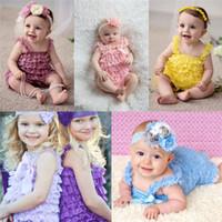bebek saç parçaları toptan satış-Toddler Bebek Dantel Tulum Bebekler Yaz Tulumlar Bebek Kolsuz Dantel Tek Parça Saç Bandı Ile Yenidoğan Tırmanma Giyim Pembe Mor B0655