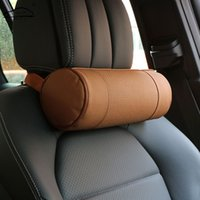 Wholesale Auto Chair Cushion - Memory Foam Car Neck Pillow Genuine Leather Auto Cervical Round Roll Office Chair Bolster Headrest Supports Cushion Pad Black