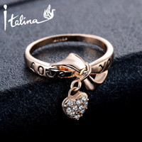 """Wholesale Love Letter Bow Ring - """"Love You"""" Letter Heart & Bow Rings Anel For Women With Austrian Crystal Stellux Top Quality #RG95110"""