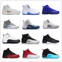 Wholesale games fabric - Basketball shoes 12 12s Bordeaux Dark Grey wool white Flu Game UNC Gym red taxi gamma french blue Suede sneaker Sports size 7-13