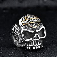 Wholesale Skull Indian - Europe Harley wings spear skull ring ring stainless steel jewelry wholesale men's personality