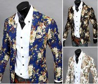 Wholesale Thin Blazers - Flower Colorful Style Men Casual Blazer Suit Long Sleeve Thin Party Men Suit Blazers Slim Single Breasted Blazer For Men J160406
