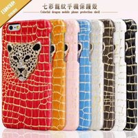Wholesale Iphone Case Leopard Crystal - Luxury Diamond 3D Crystal Leopard Head Case PU Leather Hard Back Cover Protective Phone Shells For iPhone 5s 6s 6splus