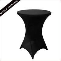Wholesale Spandex White Table Covers - 10PC Pack Wholesale Spandex Round Stretch Bistros Bar Table Cover 80X110cm Thicker Elastic Black Highboy Bar Table Cover for Wedding Part8