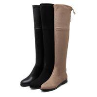 Wholesale lovely leather black boots online - ViVi Lena Rabbit Hair Fur Lovely Over Knee High Boots Platform Wedges Heels Long Boots Black Grey