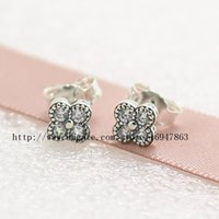 Wholesale Oriental Jewelry - 2016 New Spring High-quality 100% S925 Sterling Silver Stud Earrings European Pandora Style Jewelry Oriental Blossom with Clear CZ Earrings