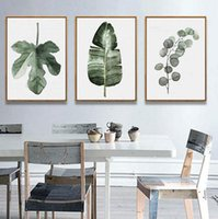 Wholesale Natural Oil Paintings Canvas - Plant painting Original Design Watercolor Green Leaf Natural Tropical Plant Cottage Art Canvas Prints wall Picture Posters For Home Sofa