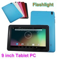 8GB ROM 9 pouces actions quad core dual caméras Android 4.4 Tablet PC avec lampe de poche 512 Mo RAM Bluetooth Wifi capacitif écran tactile