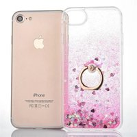 Wholesale Ring Liquid - Quicksand Bling Liquid Star Floating Glitter Hard PC Case Soft TPU Bumper Metal Finger Ring Holder For iPhone 5 5S SE 6 6S 7 Plus iPhone7