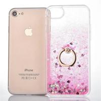 iphone tampon halka kılıfı toptan satış-Quicksand Bling Sıvı Yıldız Yüzer Glitter Sert PC Durumda Yumuşak TPU Tampon Metal Parmak Yüzük Tutucu iPhone 5 5 S SE 6 6 S 7 Artı iPhone7