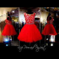 Wholesale spring dress models for girls - Red Short Homecoming Dresses 2017 Cheap Gorgeous Under 100 Crystal Lace Knee Length 8th Grade Graduation For Prom Party Girls