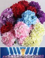 artificial white hydrangeas venda por atacado-15CM artificial hydrangea cabeça de flor do ramalhete do casamento DIY flores cabeça coroa de flores guirlanda casa decoração branco vermelho roxo azul laranja MYY verde