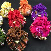 Wholesale Satin Jewelry Packaging Wholesale - Handmade Ribbon Embroidered Round Bottom Bag Chinese Ethnic Satin Cloth Travel Jewelry Gift Pouches 8 Ring Case Bag Craft Packaging Bags