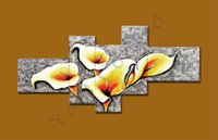 100% Hand-Painted Silver Lily Flower 5Pcs Sets Pintura a óleo moderna em tela Paisagem abstrata Wall Picture For Living Room