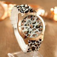 Wholesale Wholesale Leopard Watches - Geneva Women Watches Leopard Quartz Watch Luxury Ladies Dress Wrist Watch Silicone Wristwatches Wristwatch 2016 Fashion Accessories New Gift