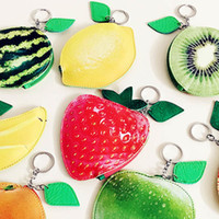 Wholesale Small Hand Purses - 2016 wallet cartoon fruit hand bag Ms portable mini small purse creative pu material key package