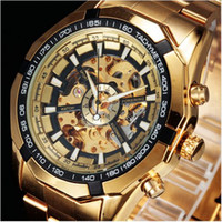 Wholesale Mechanical Military Watches - WINNER Top Brand Luxury Gold Mens Watch Men Male Casual Watches Full Steel Automatic Mechanical Clock Sport Military Clocks
