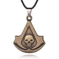 Wholesale Punk Cosplay - Mens Jewelry Punk Rope Chain Pendant Necklace Skull Assassin's Creed Syndicate Logo Cosplay Necklaces For Men 8