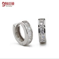 Wholesale Diamond Single Row - 2016 Hot New Single Row Simulated Diamond 925 Sterling Silver Women Fashion Jewelry Earrings Girl Wedding Party Accessories Gifts