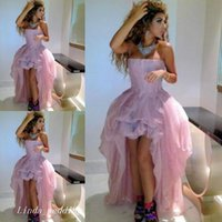 Wholesale Trendy Celebrity Evening Dress - Trendy Pink Celebrity Myriam Fares Dubai Evening Dress High Low Strapless Long Prom Dress Party Gown