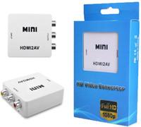 Wholesale Pal Ntsc Hdmi - Mini HD Video Converter Box HDMI to AV CVBS L R Video Adapter 1080P HDMI2AV Support NTSC And PAL Output