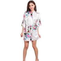 abee735f01 Wholesale- KQ03 Robes for Brides Wedding Robe Sleepwear Silk Pijama Casual  Bathrobe Animal Nightgown Women Kimono Short Bridesmaid Robe
