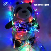 luces solares al aire libre a prueba de agua al por mayor-Luz navideña Venta navideña 10m 100 LED string 8 colores elección Rojo / verde / RGB Luces de hadas Fiesta de Navidad Luz a prueba de agua