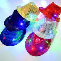 Wholesale Kids Cowboy Hats Party - Kids LED Sequins Hats Colorful Cowboy Jazz Cap Flashing Children Adult Party Festival Cosplay Costume Hats 6 Colors OOA2533