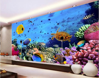 Wholesale Mediterranean Sea Painting - 3d wallpaper custom photo non-woven mural wall sticker 3 d hd world coral sea turtle fish painting picture 3d wall room murals wallpaper