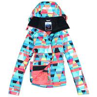 Wholesale Cheap Men Thermals - Wholesale-Free Shipping Ski Jacket Waterproof Breathable Cheap Snowboard Jacket Spandex Ski Jacket Women Thermal Winter Ski Jacket