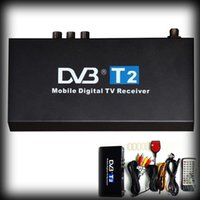 Wholesale Mobile Mpeg4 Digital Tv - by dhl or ems 50pcs Dual antenna Car DVB T2 Mobile Digital TV Box DVB-T2 Car H.264 MPEG4 TV Receiver with IR remote Worldwide