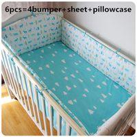 conjuntos de meninas de cama bordado venda por atacado-Promoção! 6 PCS Baby Girl Bedding Set Bordado Bebê Berçário Cama Berço Berço Cama (pára-choques + folha + fronha)