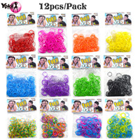 Wholesale Hair Rubber Diy - 2400pcs  Original Rainbow Mega Refill Bundle ,DIY Bracelet : 2400Premium Quality Rubber Bands, 60S-Clips, Random Colors,Bracelet Loom Craft