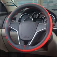 Wholesale Steering Wheel Skins - Leisure Brush Color Top Leather handlebar braid Steering- Wheel DIY Very durable steering wheel cover skin