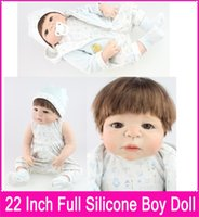 Wholesale Girl Silicone Mannequin - Latest 22 Inch About 57CM Full Silicone Body Reborn Baby Dolls Cute Girls Mohair Rooted Boneca Toys for Girls Baby Mannequin