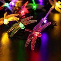 Wholesale outdoor festival string lights - Solar outdoor LED String lights Waterproof 6m 30 LED Christmas Solar String Lights 8 Modes Dragonfly Fairy Garden Light For festival