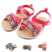 Wholesale soft soled shoes for toddlers for sale - New Arrival Baby Walking Shoes Weaved Sole Rubber Sole Hook Loop Soft PU Leather Toddler Sandals For Girls