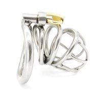 Wholesale Bird Lock Chastity - New High quality Male Chastity Device Bird Lock Stainless Steel Cage A224-1