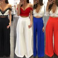 Wholesale Looses Casual Chiffon Long Pants - 2016 Summer Lady Fashion Casual Multicolor Wide Leg Loose Cargo Long Pants Chiffon Fold Womens Trousers