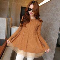 Wholesale Sweaters Lace Bottom - Wholesale- Korean Style Women's A-line Long Thin O-neck Gauze Bottoming Sweaters Loose Turtleneck Lace Hem Jacket