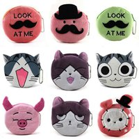 Wholesale Pig Cat Cartoons - Cute Cartoon Cheese Cat Corduroy Coin Purses Lovely Gilrs Pig Coin Bag Kids Mini Wallets Zipper Bag YC8094